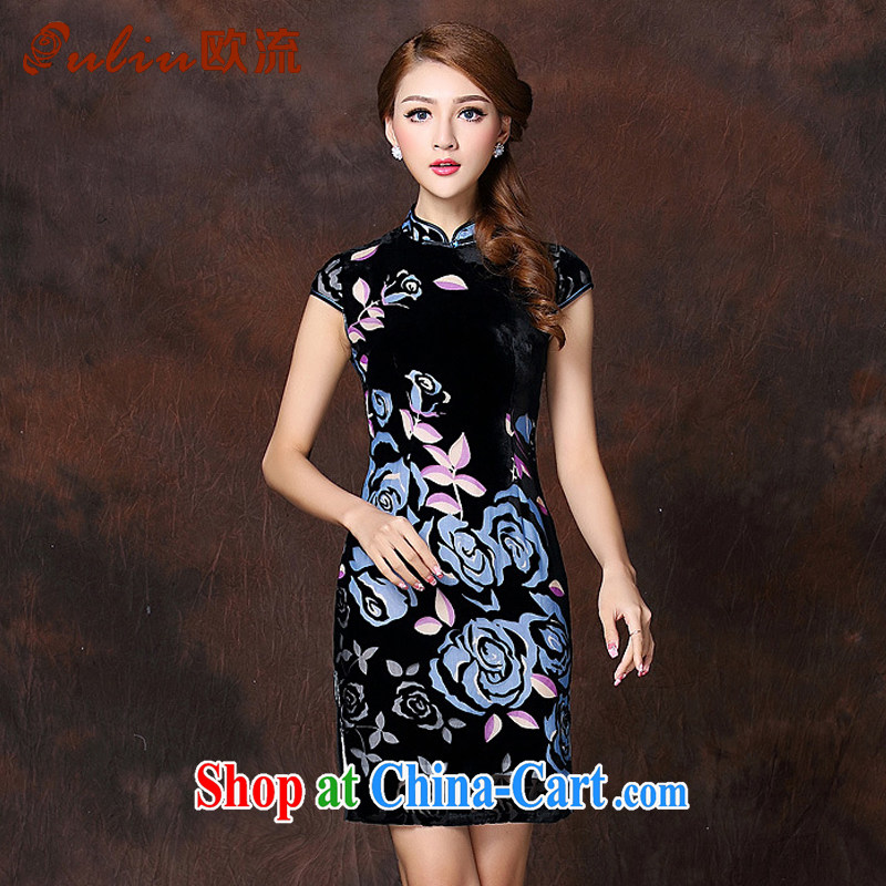 The flow improved Stylish retro sauna silk-Ms. Lao daily short cheongsam XWG 141,017 blue XXXXL