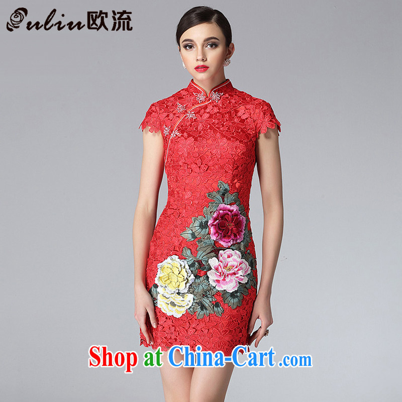 The high flow water-soluble lace cheongsam dress stylish and improved three-dimensional embroidery elegant qipao XWG 8810 red XXL