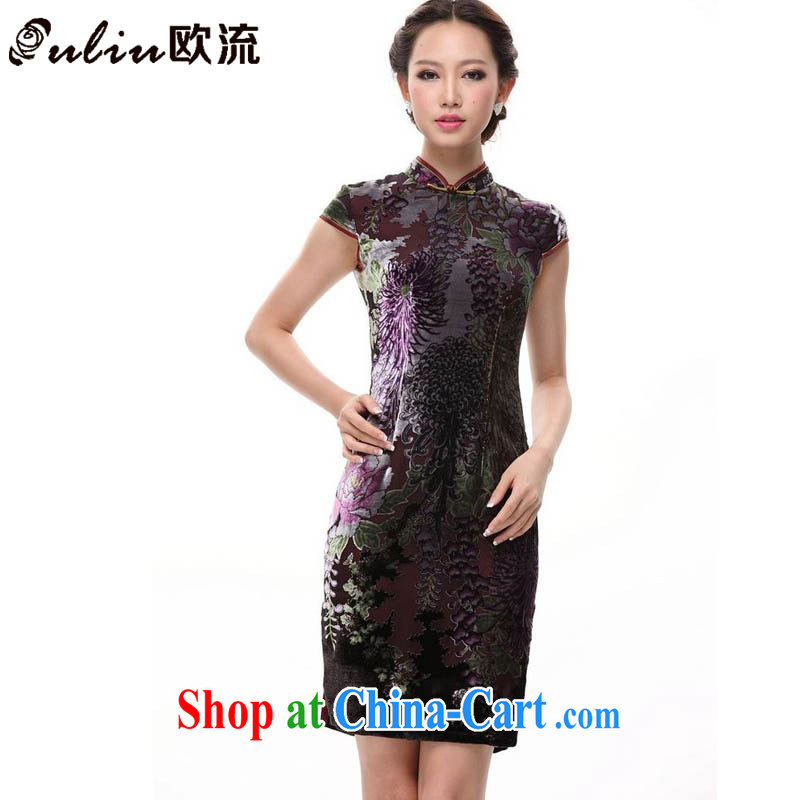 The flow improved stylish silk retro large code sauna Silk Cheongsam MOM skirt XWG 082 - 3 color XXXXL