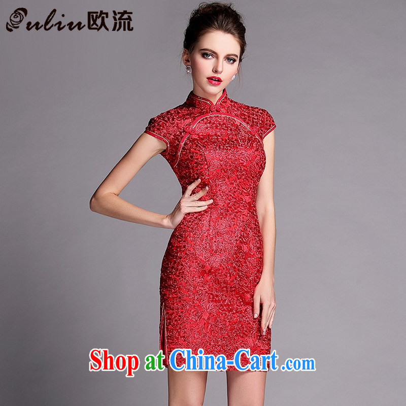 The flow improved fashion industry beauty banquet short dresses wedding dress toast XWG serving 140,503 red XXL