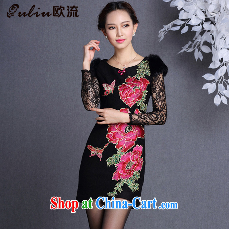 The improved flow and stylish Beauty and Hair shoulder embroidered hair so short cheongsam XWG 13,017 black S