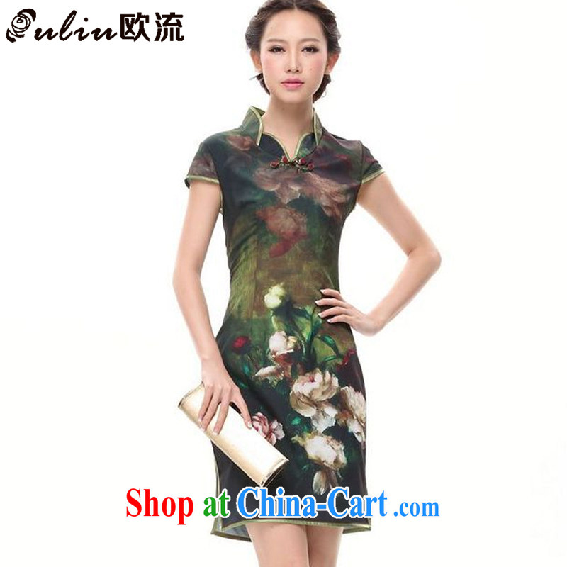 The flow improved retro stamp cheongsam dress everyday leisure short-sleeve dresses XWG 002 - 5 green XXL
