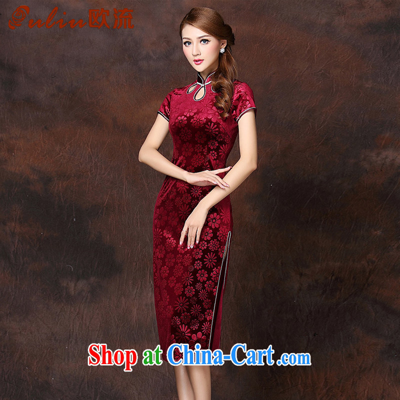 The flow improved Stylish retro-day a short-sleeved wool long cheongsam XWG 141,026 wine red XXXXL