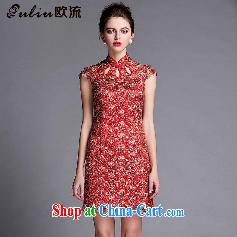 The flow improved marriage bows stylish dress lady beauty sleeveless short cheongsam dress XWG 140,501 red XXL