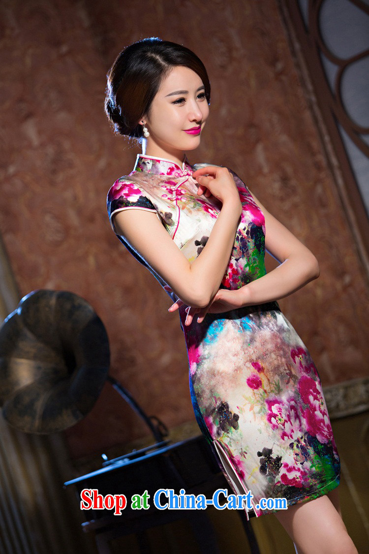 Slim li know day Hong Kong cheongsam new summer retro stylish sauna silk heavy Silk Cheongsam style skirts the color QLZ Q 15 6071 Hong Kong Day XXL pictures, price, brand platters! Elections are good character, the national distribution, so why buy now enjoy more preferential! Health