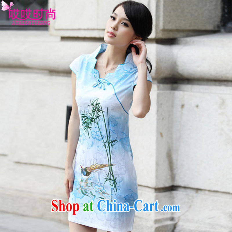 Ah, ah, stylish summer 2015 new female short-sleeved retro cheongsam dress A 6910 _blue XL