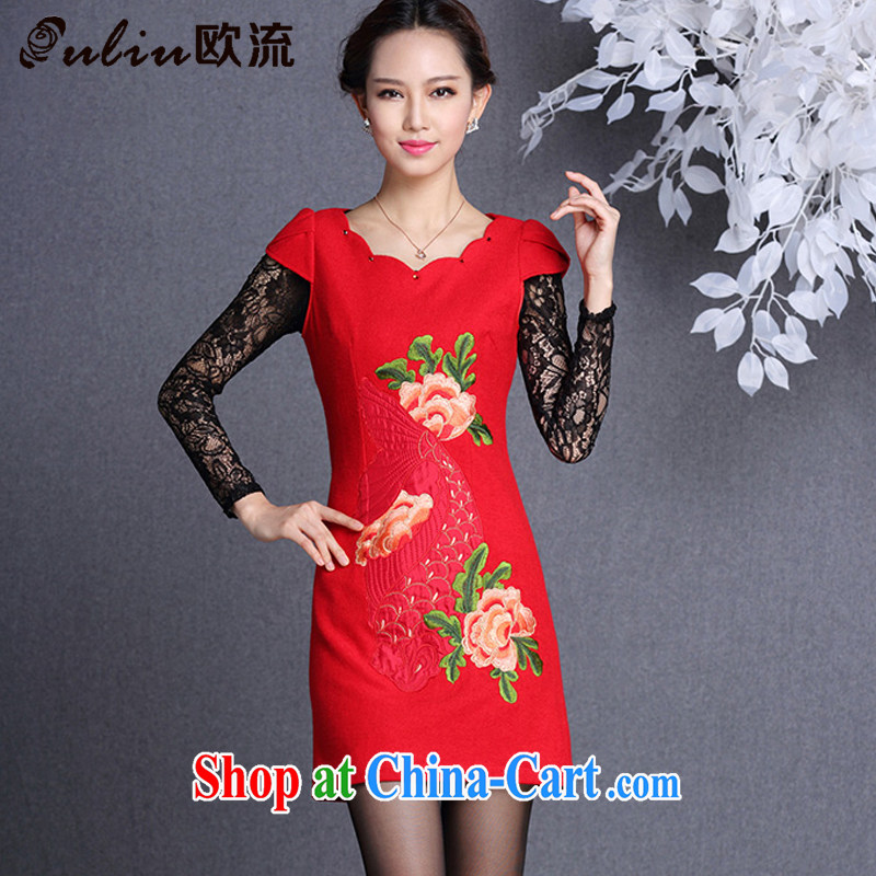 The flow improved stylish Ethnic Wind embroidered wool solid what dresses skirts ladies XWG 13,054 red XXL