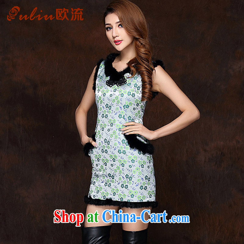 The flow improved stylish spell gross sleeveless quilted is not the Lao short cheongsam XWG 141,012 Map Color XXL
