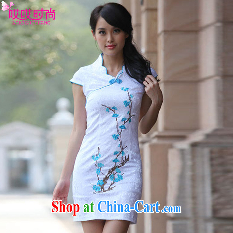 Ah, ah, stylish summer 2015 new women with pretty embroidery and stylish beauty cheongsam dress A 6909 #blue XL