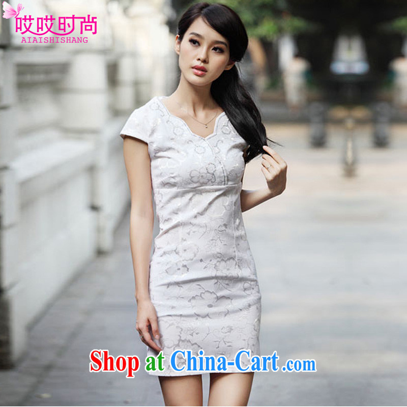 Ah, ah, stylish summer 2015 new female Chinese Antique embroidered cheongsam dress A 6922 _blue XL