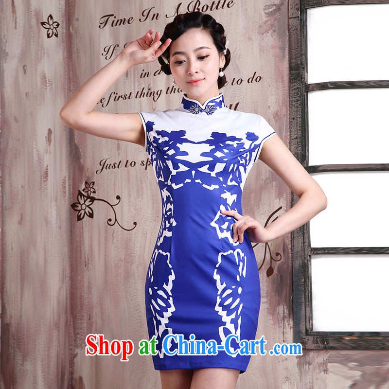 1000 Jubilee 2015 brides new summer Chinese Antique style beauty girl dress improved cheongsam X 2081 the formalist - blue XXL