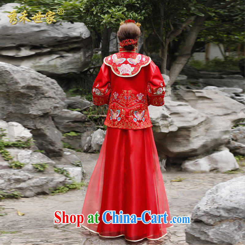 Cyd Ho Sau-wo family-su Wo service antique Chinese wedding dress hi service Sau wo service bridal gown Chinese show kimono wedding toast wedding dresses red L No.