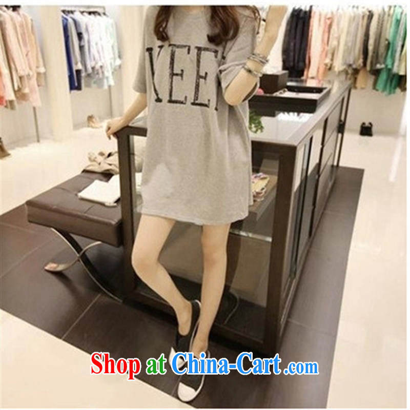 A . J . BB * summer loose Korean version the code female half sleeve cotton student sister in long, short-sleeved T-shirt (Premium) light gray M