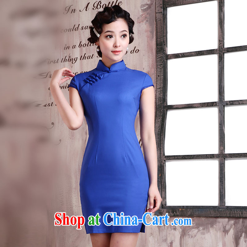 Jubilee 1000 bride's 2015 Spring Summer Chinese improved daily pure colors and stylish beauty stretch cotton cheongsam dress X 2032 blue XXL