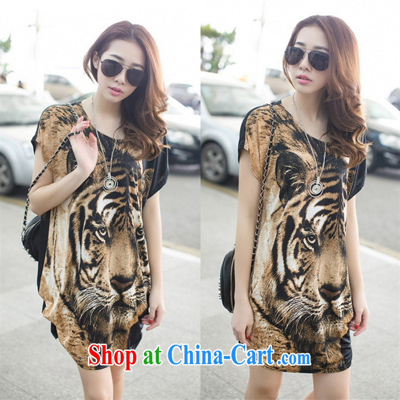 A . J . BB _ 2015 summer new Korean fashion Tiger stamp leisure loose the Code women's clothes a short-sleeved shirt T JR 2501 gray and black are code