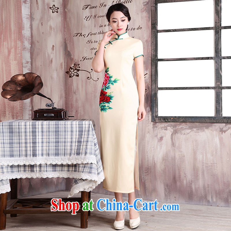 Jubilee 1000 bride spring 2015 new stylish improved cultivating retro long day dresses, Chinese Dress X 273 yellow XXL