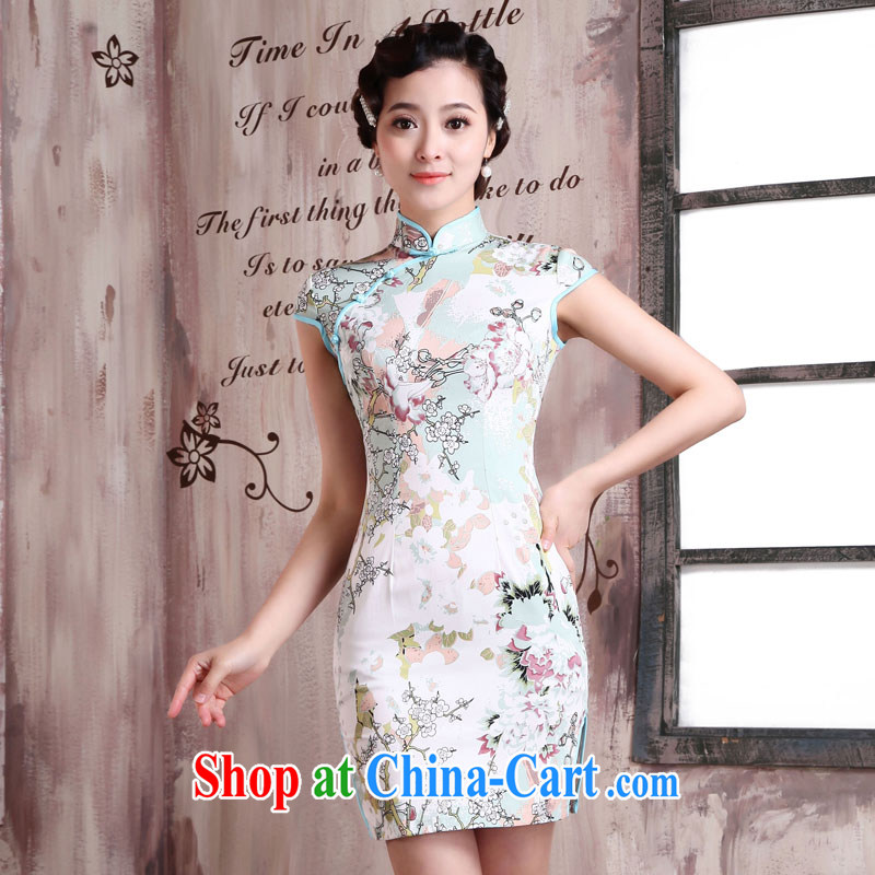 Jubilee 1000 bride's 2015 spring and summer new women with stylish retro improved cultivating graphics thin ethnic wind short, daily cheongsam dress X 2024 pixels, XXL