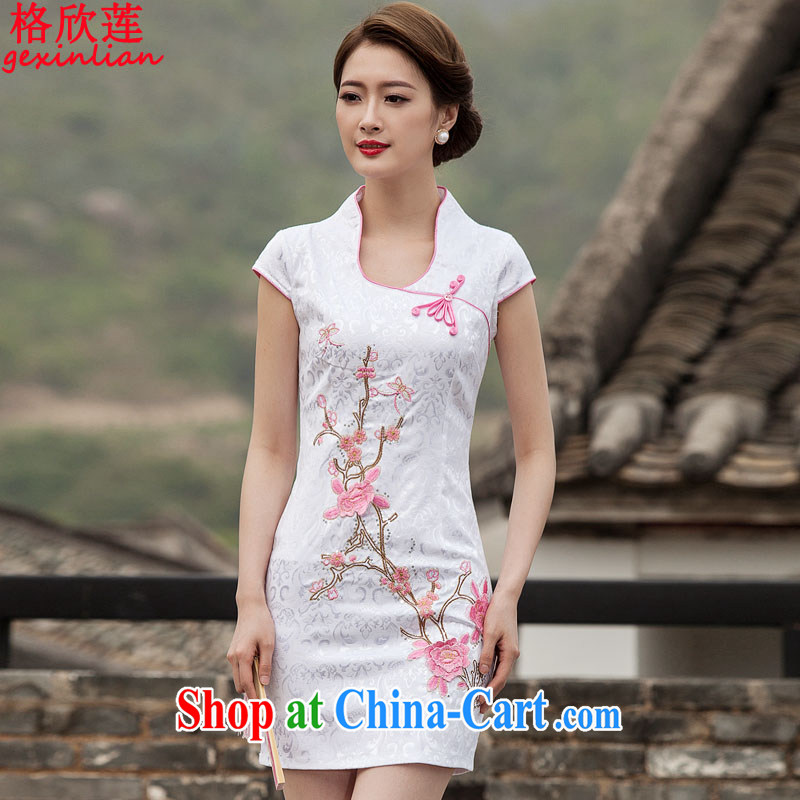 The Yan Lin 2015 summer new Chinese antique dresses and stylish high-end embroidery dresses JY 425 pink XL