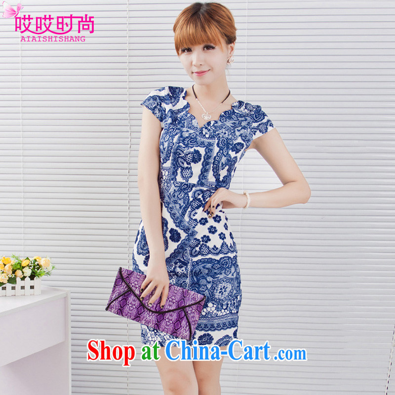 Ah, ah, stylish summer 2015 New Female Sex and the waist wavy edge collar retro outfit #9620 blue and white porcelain 1XXXL