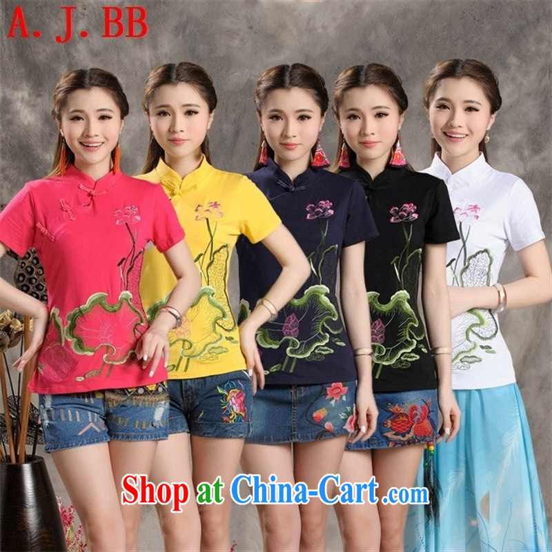 Black butterfly XS 8236 2015 National wind summer new female solid T-shirt, collar embroidered cultivating the code short-sleeve shirt T the red XXXL