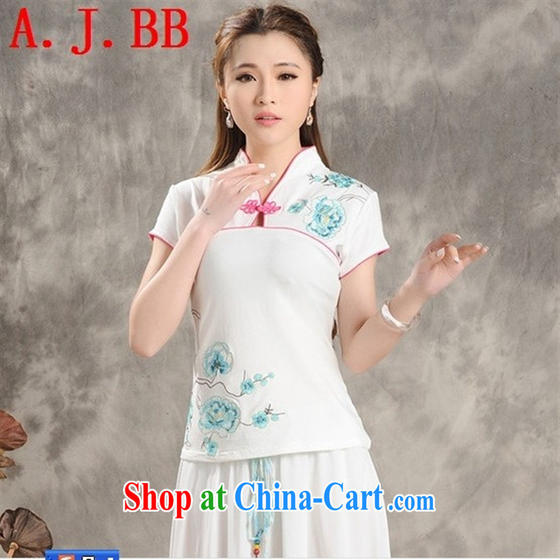 Black butterfly E 9202 summer 2015 New National wind blouses and collar embroidered ethnic wind short-sleeved shirt T female white XXXXL