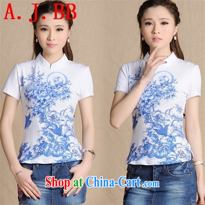 Black butterfly XD 5913 2015 summer new ethnic wind blouses, for blue and white porcelain embossed cotton T shirt short-sleeve female white XXL