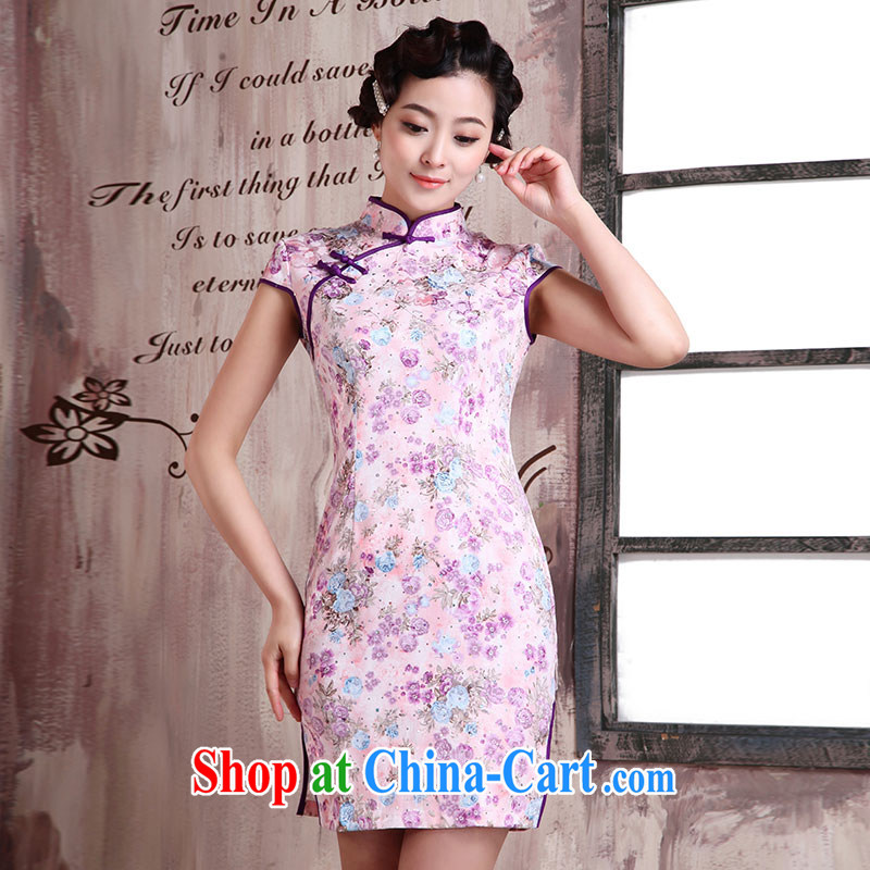 Jubilee 1000 bride's 2015 spring and summer new women with stylish retro improved cultivating graphics thin ethnic wind short daily qipao dresses X Creek 2020 dream XXL