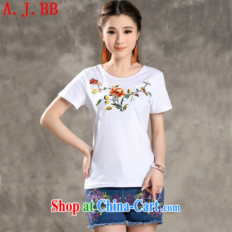 Black butterfly YT 808 summer 2015 New National wind blouses embroidery take-neck beauty graphics thin short-sleeve shirt T female white XXL