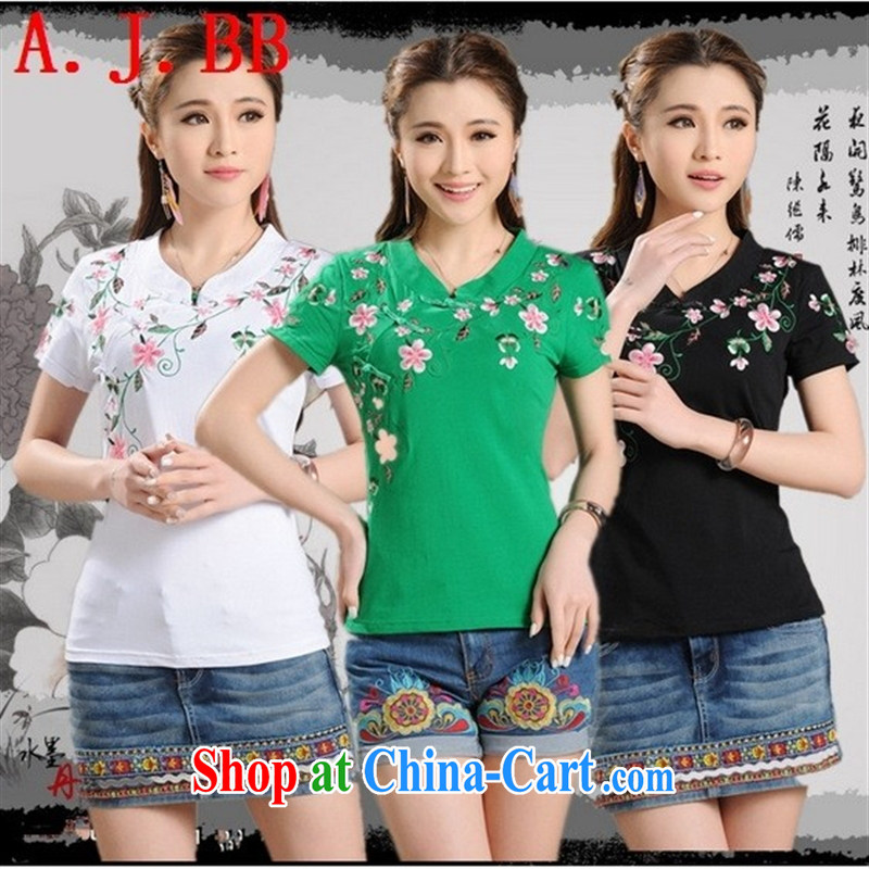 Black butterfly E 9204 2015 summer new blouses, for a tight national wind embroidered beauty short-sleeved T-shirt girl green XXXXL