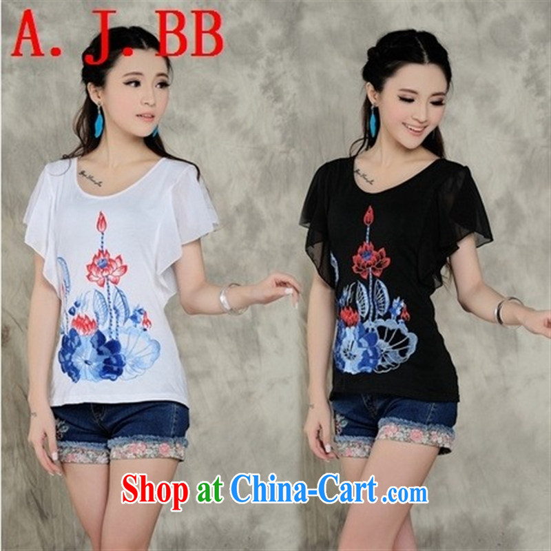 Black butterfly C 110 summer 2015 New National wind women shirt T flouncing embroidered snow-woven fly cuff short-sleeved T-shirt female black XXXL