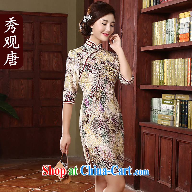 The CYD HO Kwun Tong' aroma and stylish dresses women 2015 new spring decor, Retro sauna Silk Cheongsam dress QZ 4726 fancy XXXL