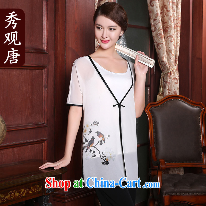 The CYD HO Kwun Tong' however and 2015 summer new stamp duty, Ms. Tang is slim T-shirt ethnic wind blouses white XXL