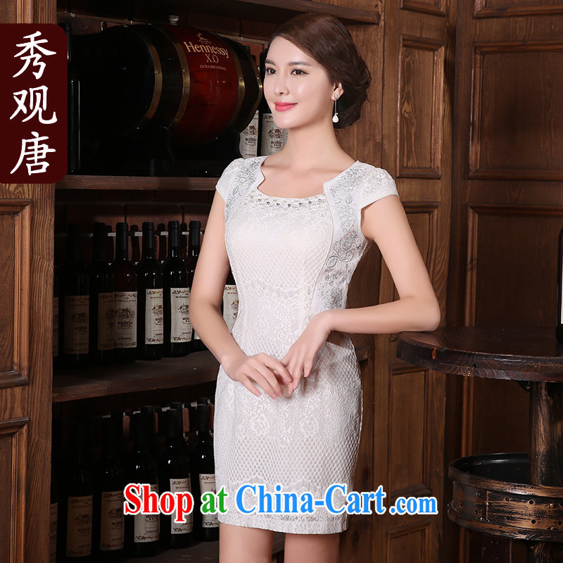 The CYD HO Kwun Tong' 100 and improved fashion cheongsam dress summer 2015 new daily retro dresses white XL