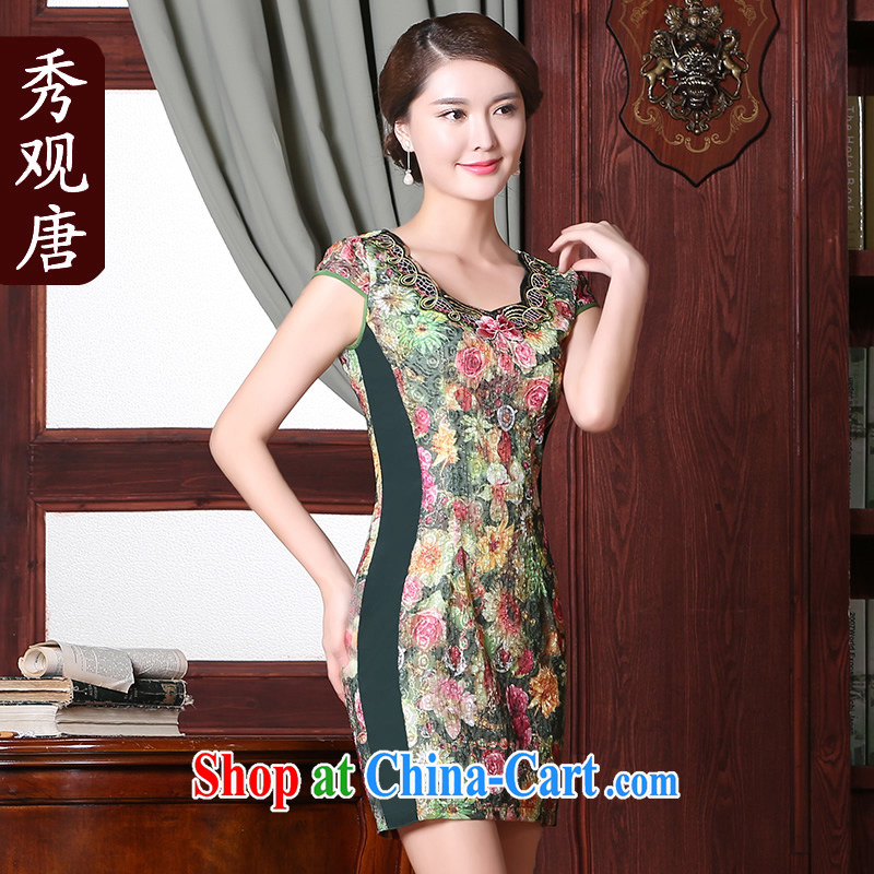 The CYD HO Kwun Tong' green summer 2015 new daily cultivating cheongsam dress improved retro dress suit XXL