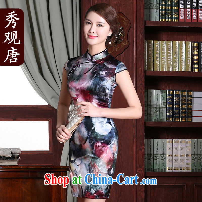 The CYD HO Kwun Tong' between I should be grateful if you would have 2015 summer new upscale retro dresses improved sauna silk Silk Cheongsam floral XXL