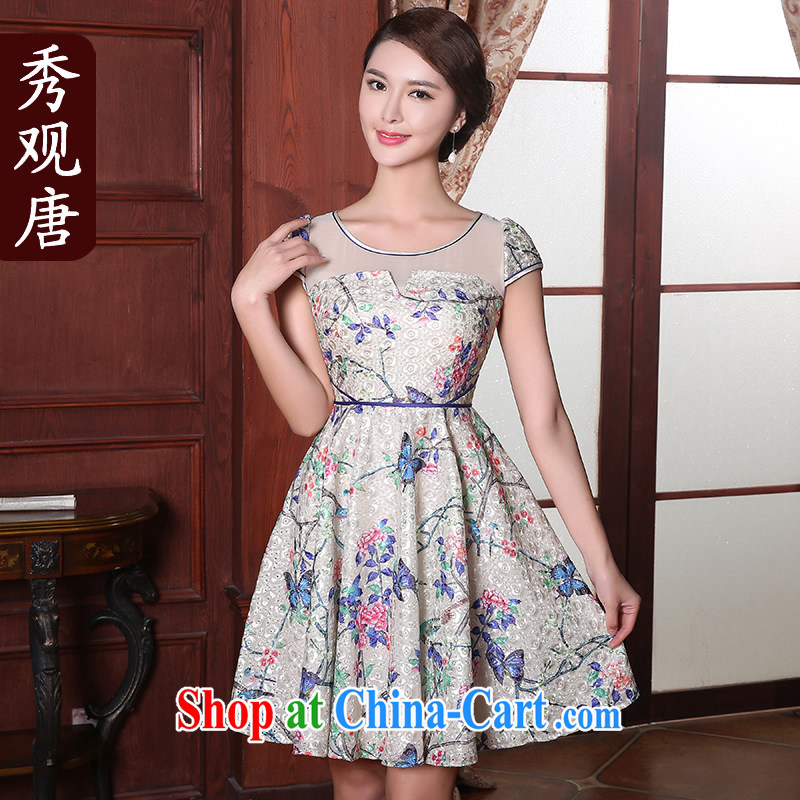 The CYD HO Kwun Tong' butterfly once and for all summer 2015 new improved stylish women sexy Snow woven retro dress suit S