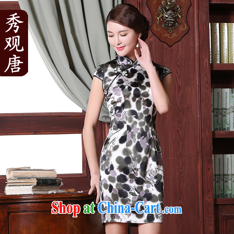 The CYD HO Kwun Tong' drunken River, summer 2015 new outfit, good retro improved sauna silk Silk Cheongsam dress suit XXL