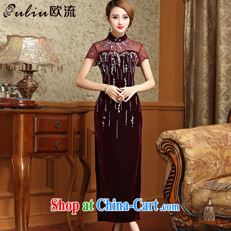 The long, gold velour cheongsam dress Chinese antique dresses serving toast AQE 001 purple XXXL