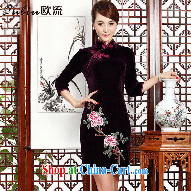 The class short embroidery cheongsam stylish retro MOM cheongsam dress gold velour dresses wedding dresses AQE 002 purple XXXL