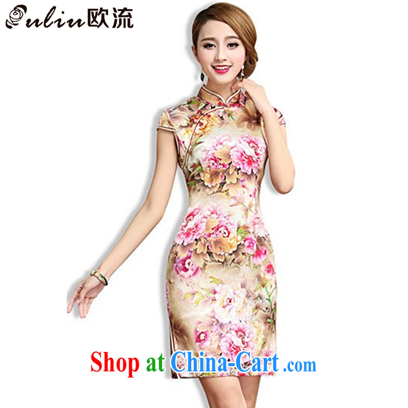 The stream high-end Silk Cheongsam retro mulberry Silk Cheongsam dress Chinese Tang women AQE 003 Map Color XXL