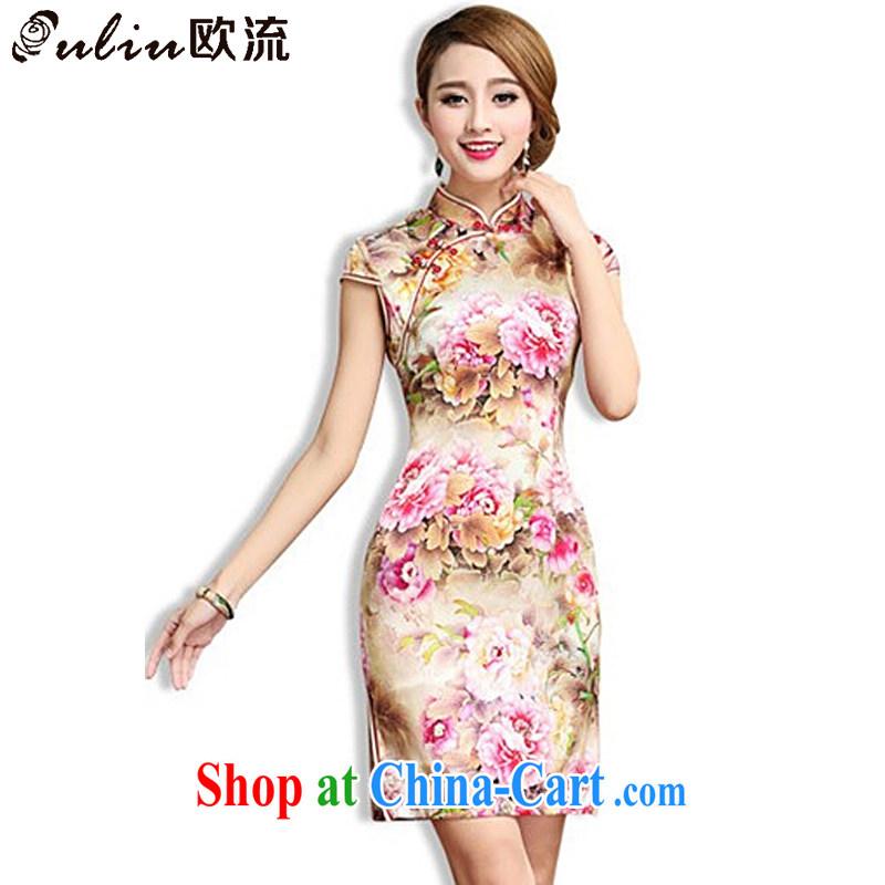 The stream high-end Silk Cheongsam retro mulberry Silk Cheongsam dress Chinese Tang women AQE 003 Map Color XXL