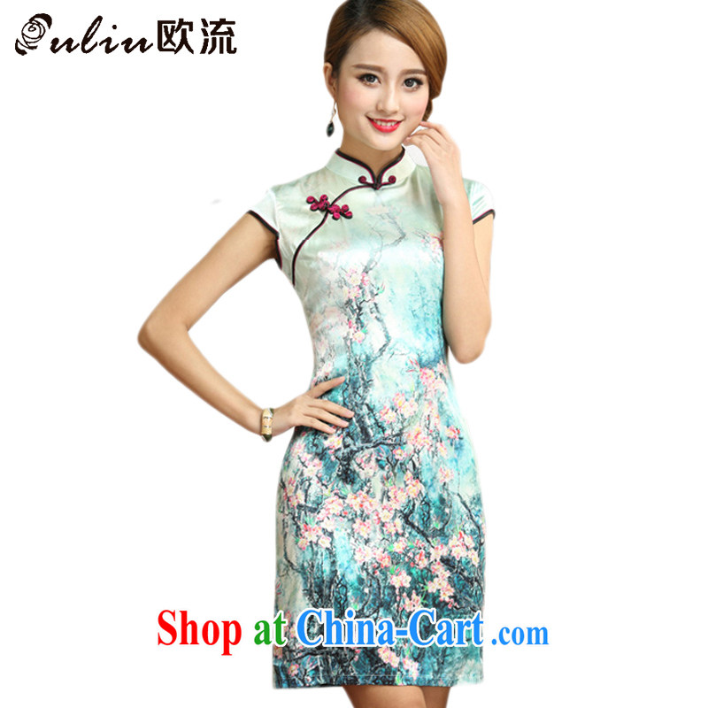 The class standard floral silk short qipao beach on Chinese Antique mulberry Silk Cheongsam dress AQE 004 Map Color XXXL