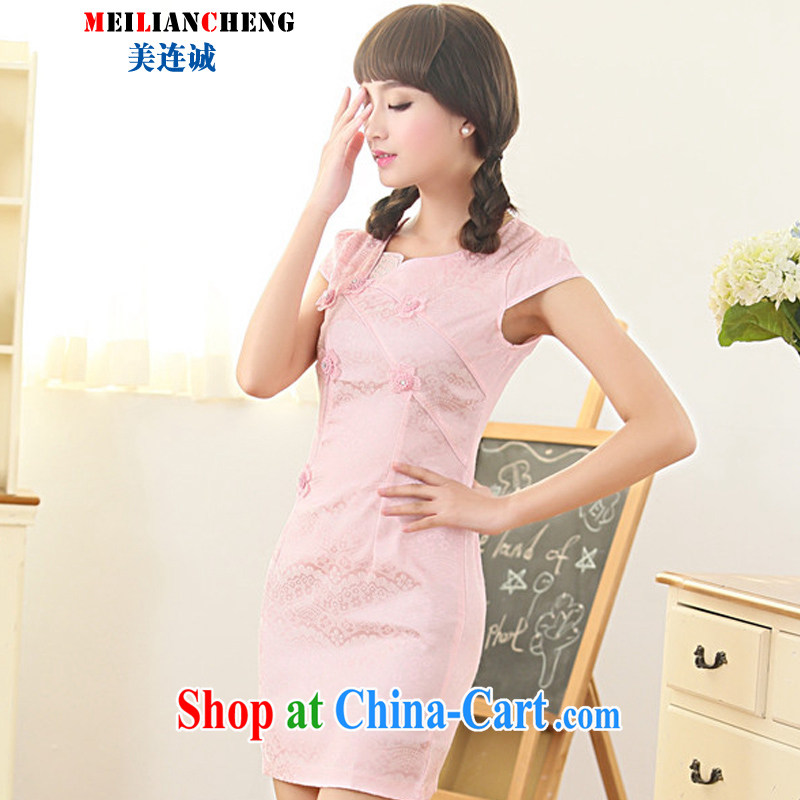 The US even good faith summer 2015 new lace stitching embroidered dresses retro elegant refined and stylish beauty short cheongsam further skirt pink XXL