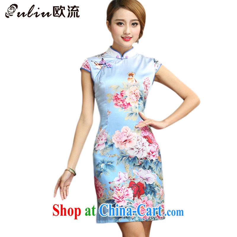 The flow and elegant refined antique Silk Cheongsam Chinese summer short-sleeved floral cheongsam dress AQE 008 photo color XXL