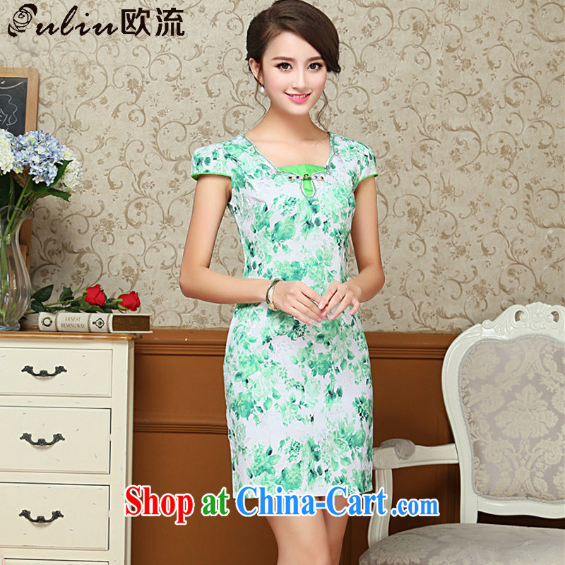 The flow green floral and the relatively short summer dresses beauty antique cheongsam dress improved daily Tang replace AQE 009 green XXL