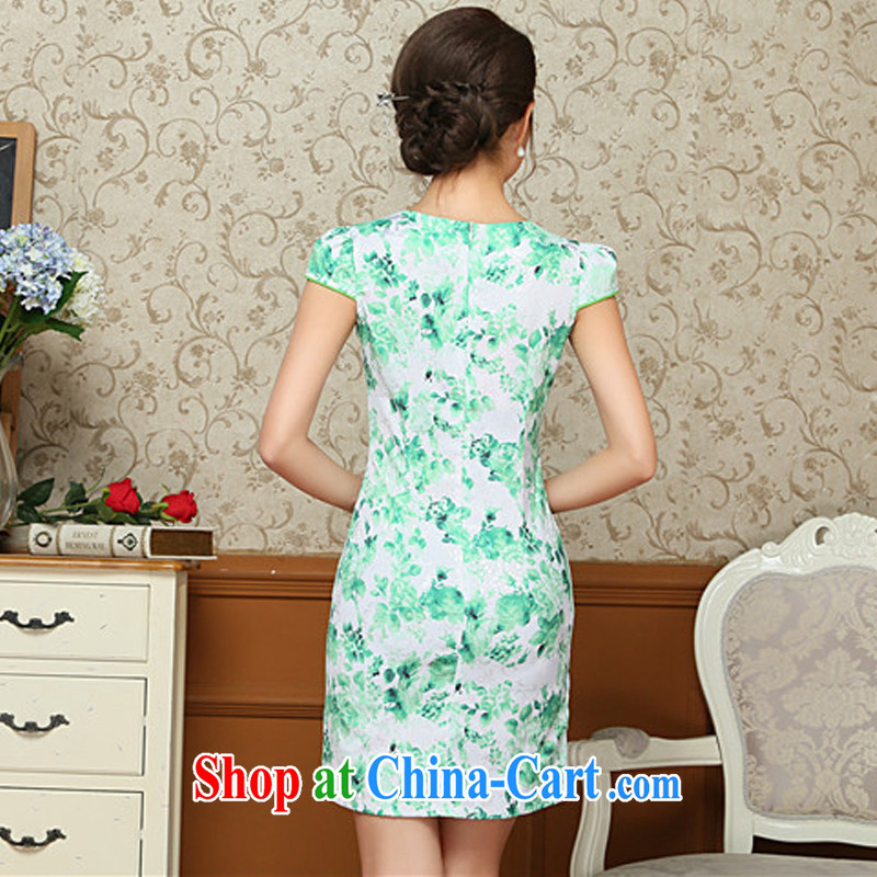 The flow green floral and the relatively short summer dresses beauty antique cheongsam dress improved daily Chinese AQE 009 green XXL, the stream (OULIU), online shopping