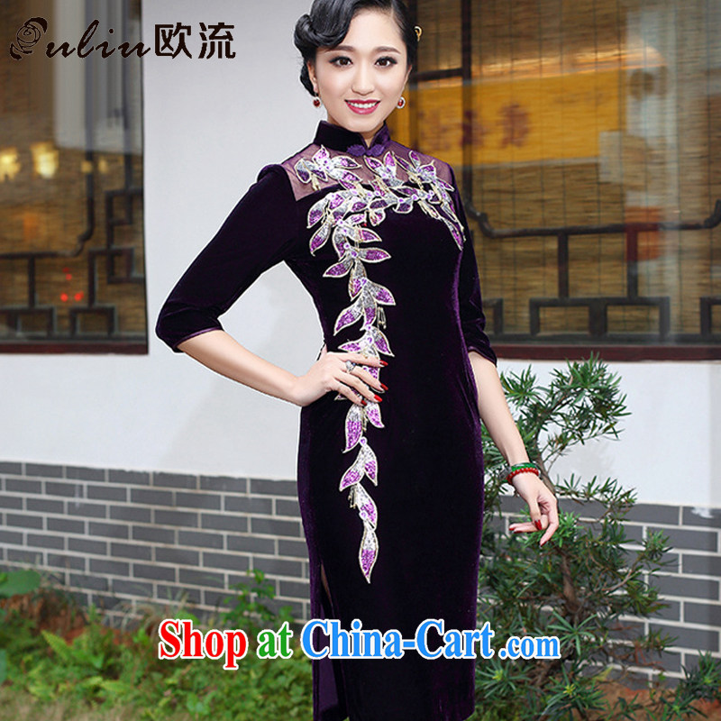 The class boutique style gold velour cheongsam elegance upscale wedding banquet mother dress uniform toast the maize AQE 006 purple cuff in XXXXL
