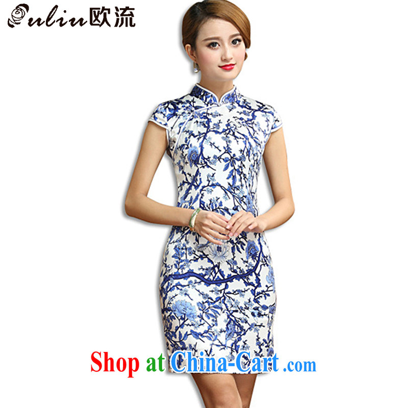 The stream antique porcelain was Silk Cheongsam elegance beauty short cheongsam dress sauna Silk Dresses AQE 011 blue and white porcelain XXXL