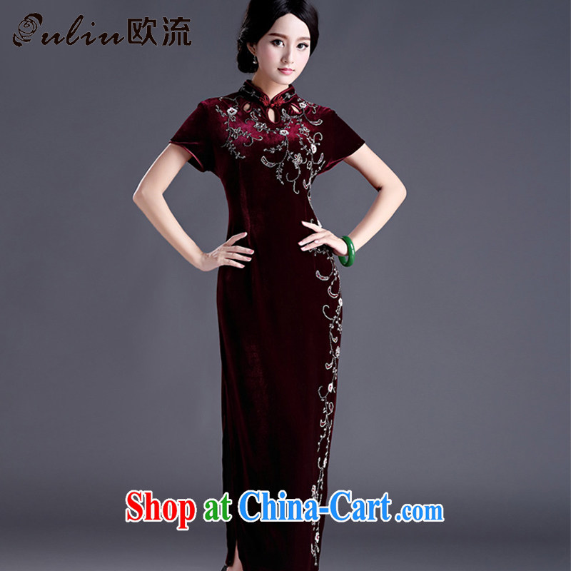 The first class beauty is the cheongsam long, Kim velvet cheongsam dress MOM retro wedding dress uniform toast AQE 012 maroon short-sleeved XXXXL
