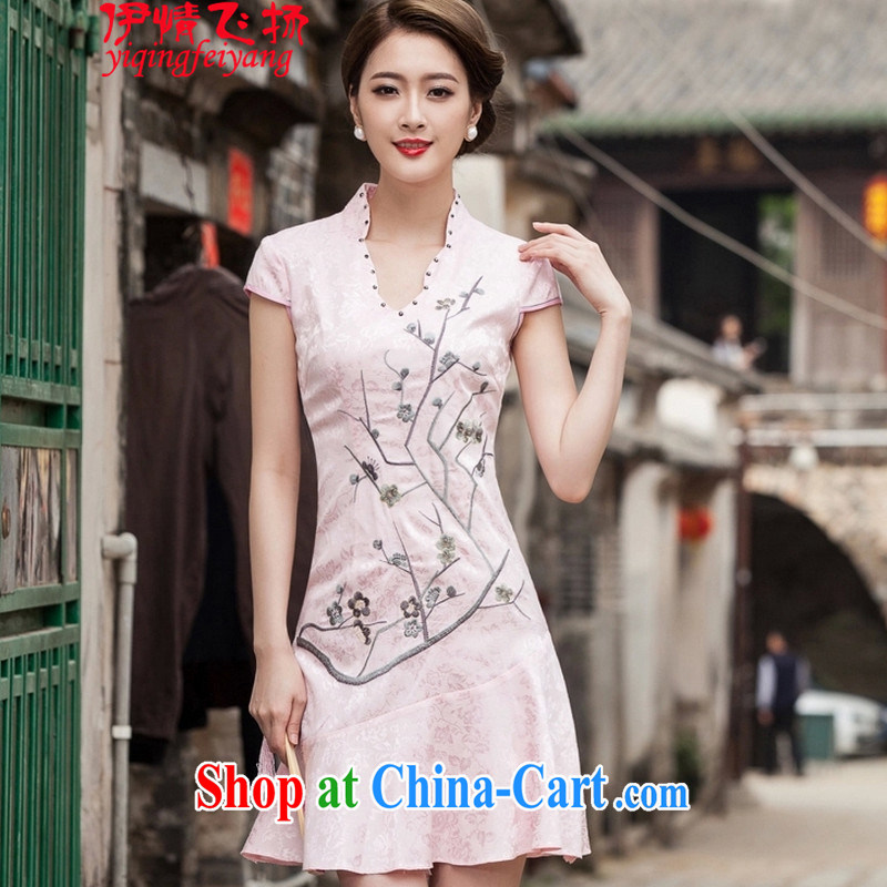 The flies love summer 2015 new short-sleeved V collar embroidered Phillips nails Pearl crowsfoot skirt with embroidery short cheongsam C C 518 1123 red XL